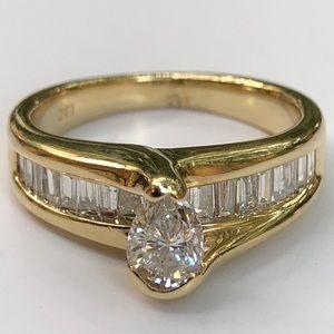 Jewelry - 14K Y/G Pear Shape Cut Diamond Bridge Style Eng💍